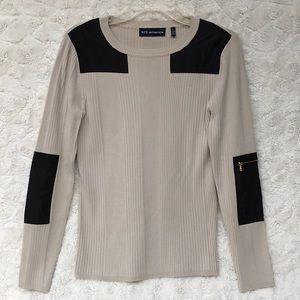 EUC  525 America Beige Pullover w/ Sleeve Patches
